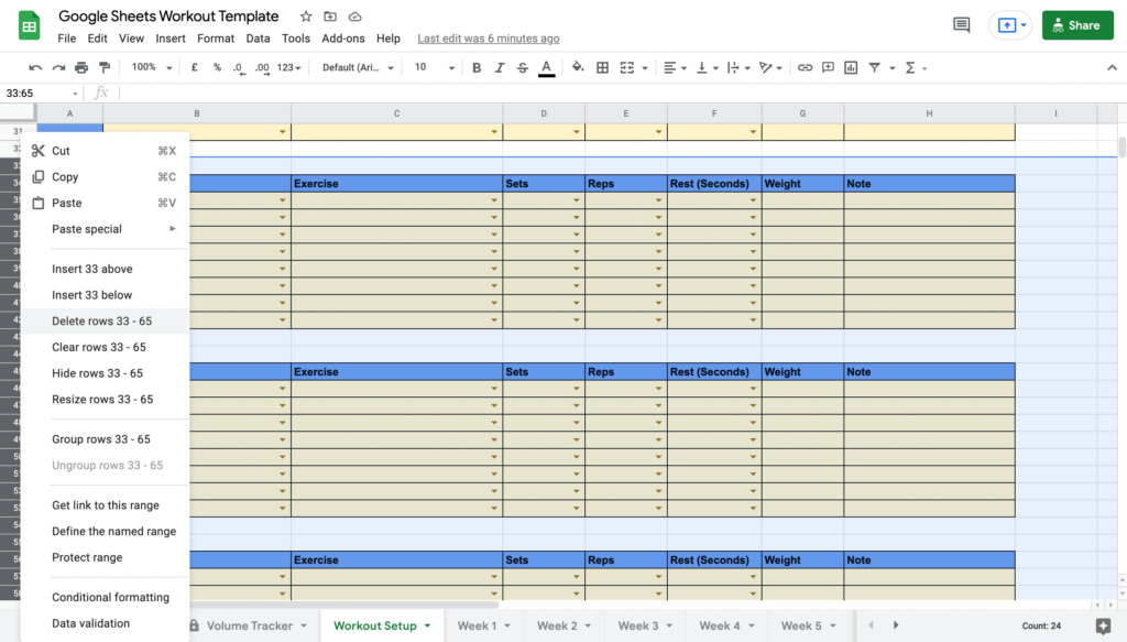 Google Sheets Workout Template Deleting Rows