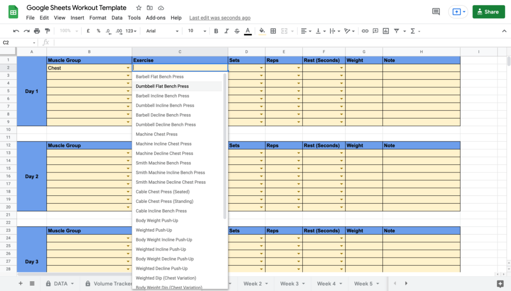 Google Sheets Workout Template Selecting Exercise