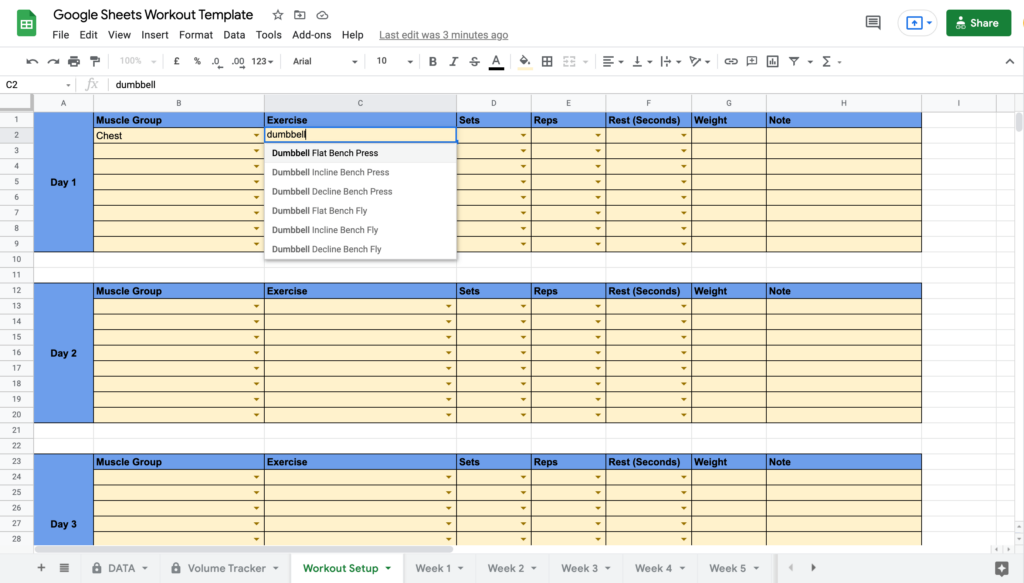 Google Sheets Workout Template Finding Exercise