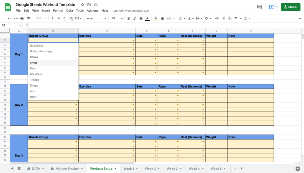 Google Sheets Workout Template Selecting Muscle Group
