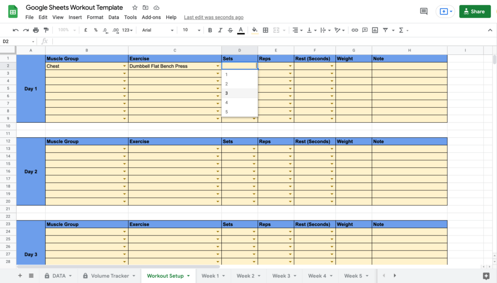 Google Sheets Workout Template Selecting Sets