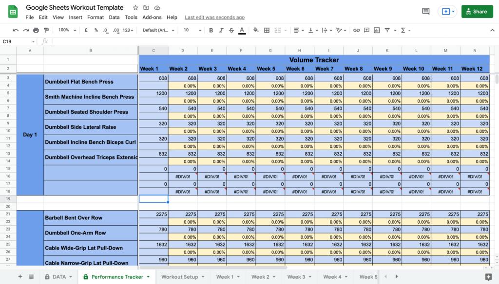 Google Sheets Workout Template Volume Tracker