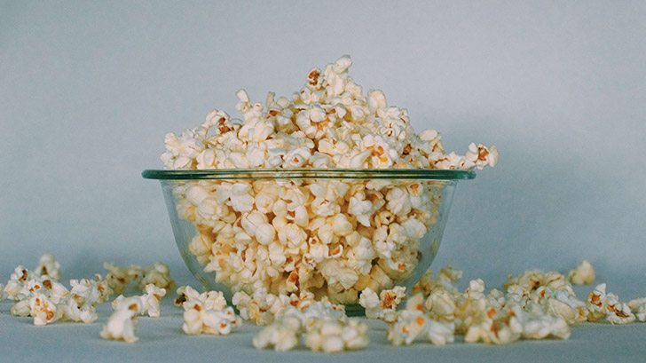 Air-Popped Popcorn in a glass bowl