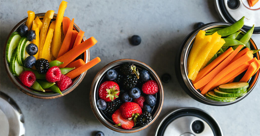 Vegetables and Berries in Bowls
